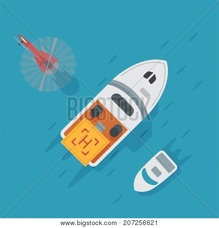 Helicopter pad landing water boat area platform vector top view illustration. Helicopters landing pad aviation city platform. Takeoff vehicle tourism heliport sign.