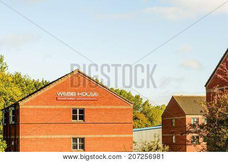 Northampton Uk October 3, 2017: Webb House Chartered Accountants Logo Sign Stand Northampton Industr