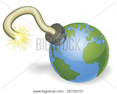Time Bomb In Shape Of  World Globe Concept