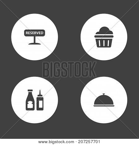 Collection Of Catsup, Tray, Registered And Other Elements.  Set Of 4 Bar Icons Set.