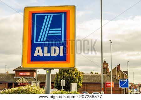 Northampton Uk October 3, 2017: Aldi Logo Sign In Northampton Town Centre