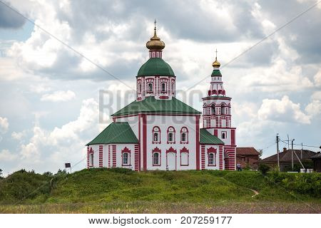 Church on a background of a cloudy sky. Ilyinskaya church in the city of Suzdal, Russia.