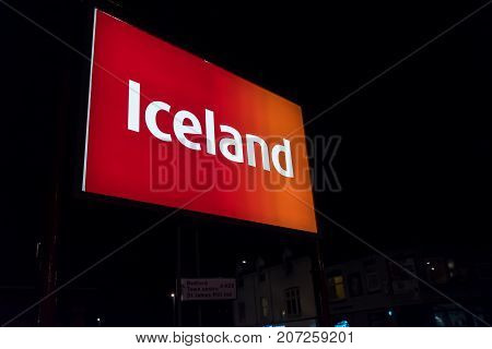 Northampton UK October 3, 2017: Iceland logo sign in Northampton town centre.