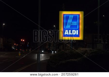 Northampton UK October 3, 2017: Aldi logo sign in Northampton town centre.