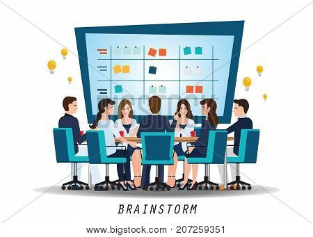 Brainstorming teamwork with business people discussionconceptual vector illustration.