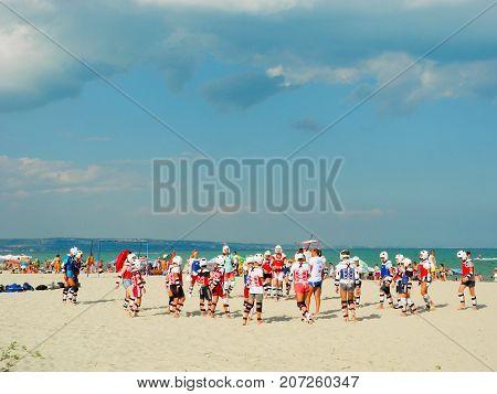Kranevo Bulgaria - July 9 2017: Children's classes taekwondo on the beach.