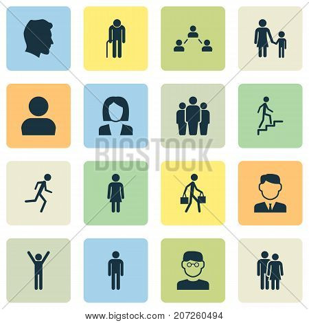 Person Icons Set. Collection Of Scientist, Happy, Beloveds And Other Elements