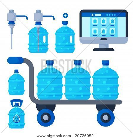 Water delivery service different water bottle vector elements. Drink bottle plastic blue container business service. Mineral liquid worker job industry.