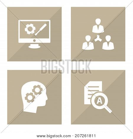 Collection Of Thinking Head, Unity, Repair Service And Other Elements.  Set Of 4 Business Icons Set.