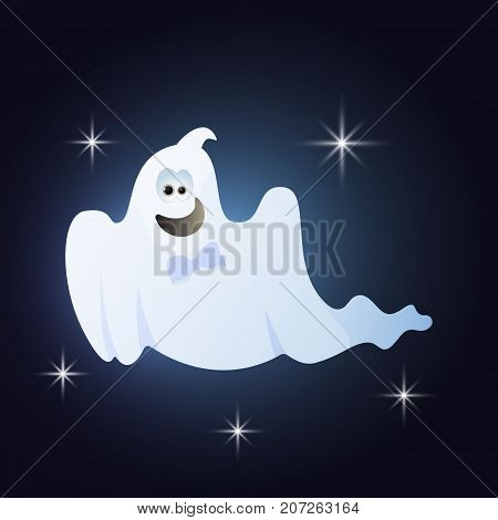 Cartoon Ghosts silhouette for Halloween night background. Happy ghost with a bow tie. Vector illustration.