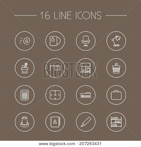 Collection Of Briefcase, Wastebasket, Desk And Other Elements.  Set Of 16 Office Outline Icons Set.