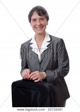 businesswoman carrying briefcase