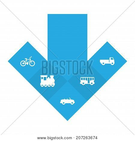 Collection Of Autobus, Lorry, Wagon And Other Elements.  Set Of 5 Traffic Icons Set.