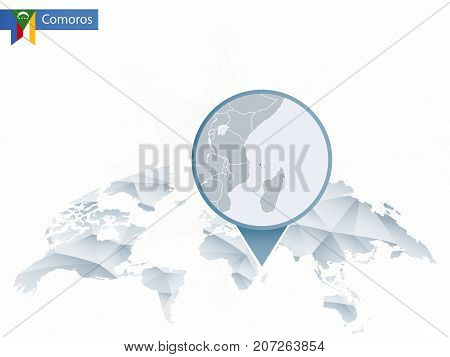 Abstract Rounded World Map With Pinned Detailed Comoros Map.