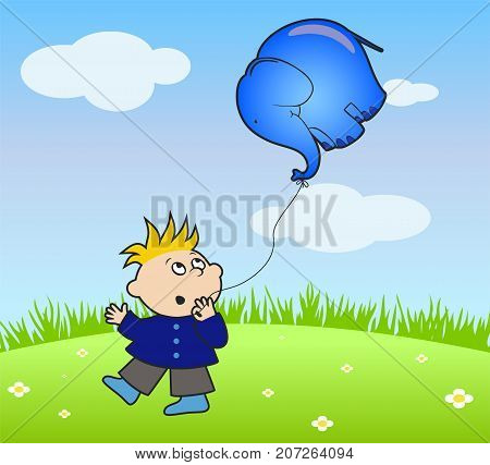 Vector boy holding a ball in the form of an elephant in his hand