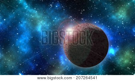 Planets with the shining star in space view from telescope 3D illustratio