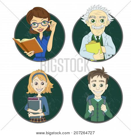 Teacher, professor and students. Illustration of icons or avatars.
