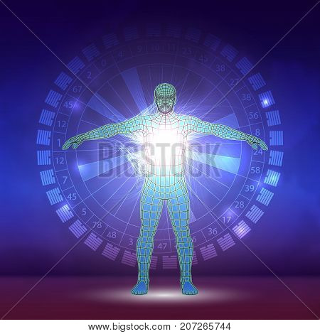 Design of human abstract. Slim vector design. Astrological symbols and mystic signs.