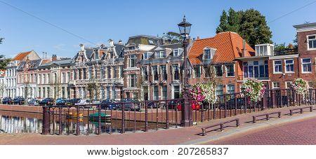 HAARLEM, NETHERLANDS - SEPTEMBER 03, 2017: Panorama of a bridge in the historic center of Haarlem Netherlands