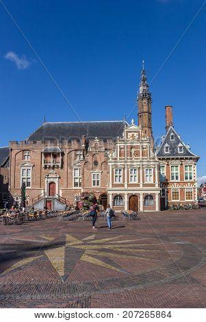 HAARLEM, NETHERLANDS - SEPTEMBER 03, 2017: City hall on the main market square of Haarlem Netherlands