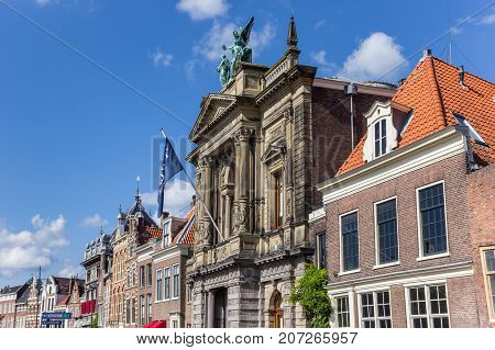HAARLEM, NETHERLANDS - SEPTEMBER 03, 2017: Historic facades at the Spaarne in Haarlem Netherlands