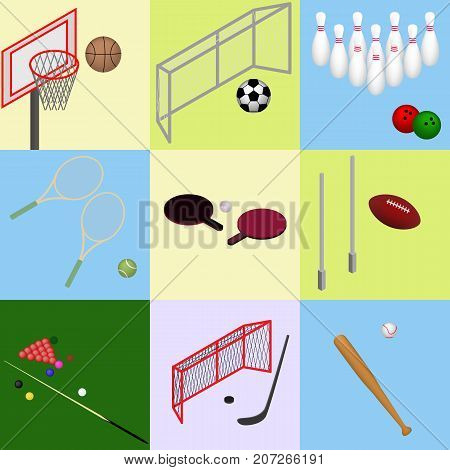 Isometric sports with a ball: soccer football baseball basketball bowling snooker tennis ping pong hockey. Set of Isolated images in vector
