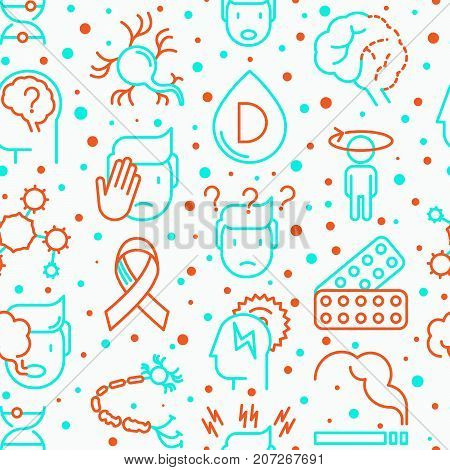 Multiple sclerosis seamless pattern with thin line icons of symptoms and treatments: disorientation, heredity, neuron myelin sheaths, vitamin D. Vector illustration for banner, web page.