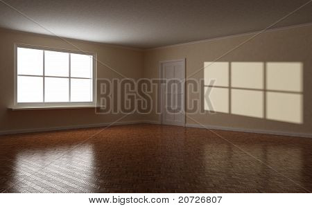 Empty Clear Room, White Window And Door, 3D Illustration