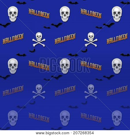 Halloween Gradient Background, White Skull and Crossbones, Bats Flying, 3D, Template for American Holiday.