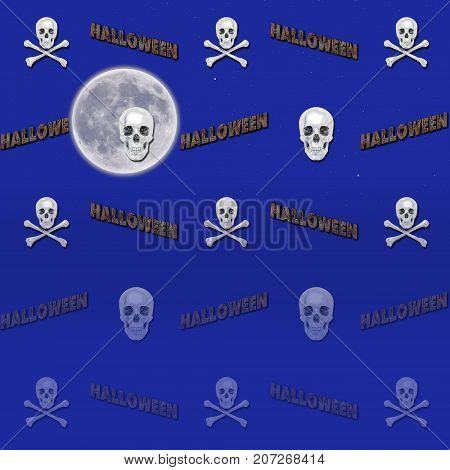 Halloween Gradient Background, Moon, White Skull and Crossbones, 3D, Template for American Holiday.