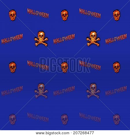 Halloween Gradient Background, Burning Skull and Crossbones, 3D, Template for American Holiday.
