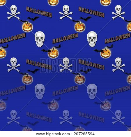 Halloween Gradient Background, White 3D, Skull and Crossbones, Skull and Crossbones, Bats Flying, Jack o' lantern, 3D, Template for American Holiday.