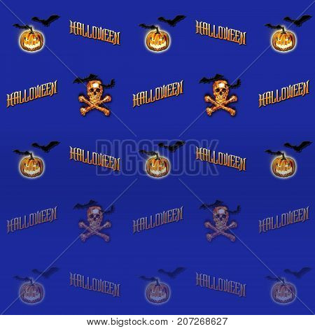 Halloween Gradient Background, Skull and Crossbones, Bats Flying, Jack o' lantern, 3D, Template for American Holiday.