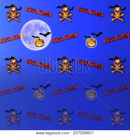 Halloween Background, Moon, Jack o' lantern, Burning Skull and Crossbones, Bats flying, 3D, Template for American Holiday.