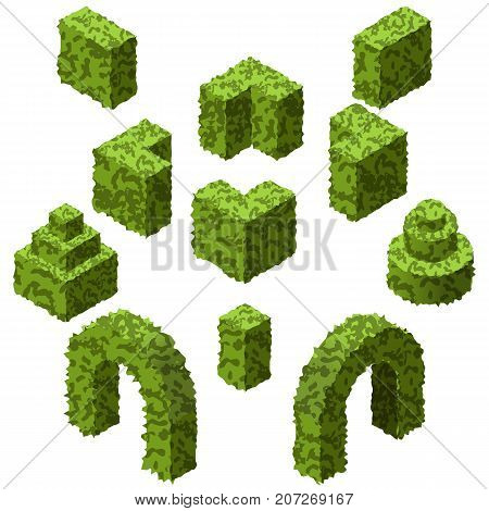 Set of garden bushes. Isolated vector topiary bushes to create garden or landscape scenes. Isometric set. Vector Illustration