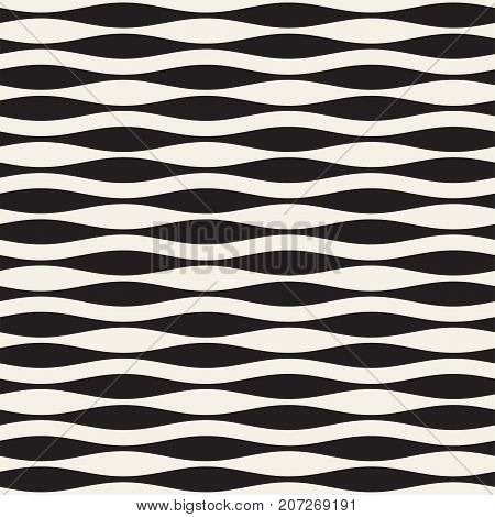 Wavy stripes vector seamless pattern. Retro abstract wavy texture. Geometric lines monochrome design.