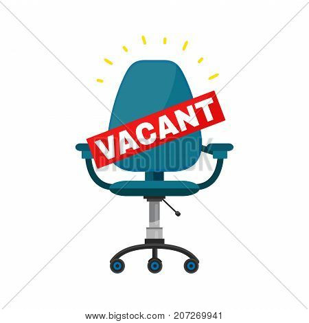 Vacant office chair place for job concept. Vector cartoon modern trendy stylish flat character illustration icon sign design.  Business hiring and recruiting. Isolated on white background