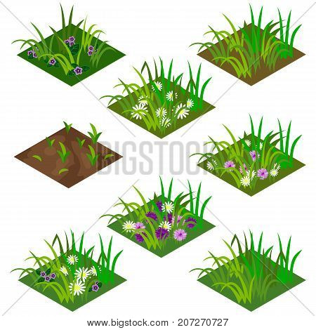 Garden or farm isometric tile set. Isolated tiles with grass and flowers - chamomiles and other. Vector illustration can be used as a game asset to create landscape or garden scene.