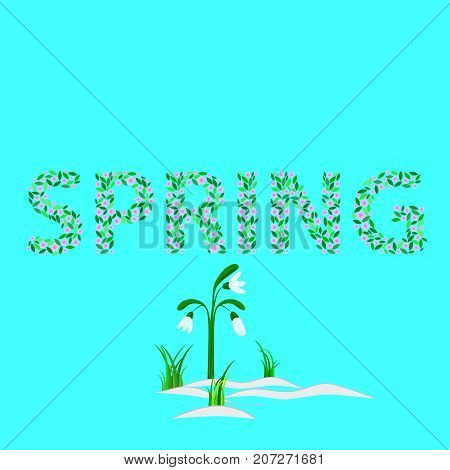 Word SPRING,  consists of the elements. Capital letters.
