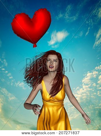 Chasing your love,3d illustration of beautiful woman chasing for heart balloon,mixed media