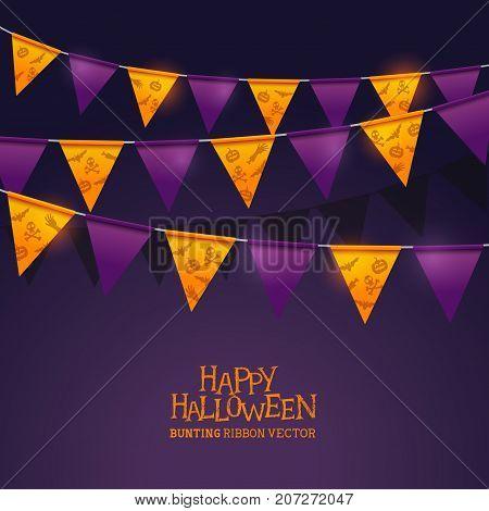 Bright orange and purple halloween festival bunting ribbons. Vector illustration decorations.