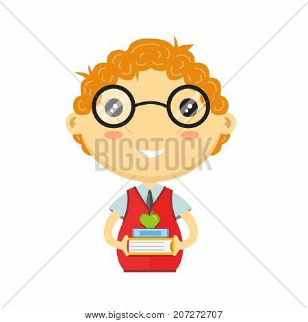 Happy fun schoolboy with books. Vector flat cartoon schoolboy character. Isolated on white background. School concept