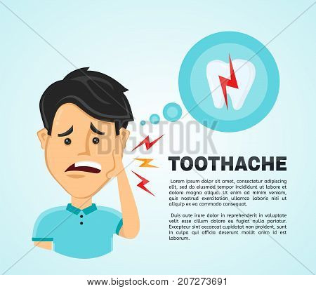 Vector illustration flat man with a headache.  Frustrated young man touching his cheek and feel aching tooth. Pain in the human body. Concept for dentist