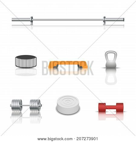 Realistic sports and game icons with shadow and mirror reflection. Isolated on white background vector illustration.