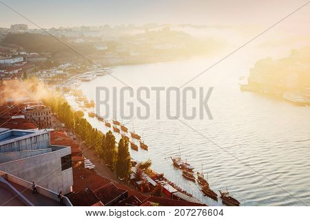 old town of Porto and river Douro with soft light of sunset, Portugal, retro toned