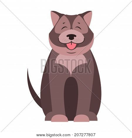 Happy cute dog sitting with smiling muzzle and hanging out tongue isolated flat vector. Lovely purebred pet illustration for animal friends and companions concepts, shop ad