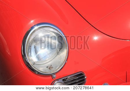 headlight of old vintage car close up