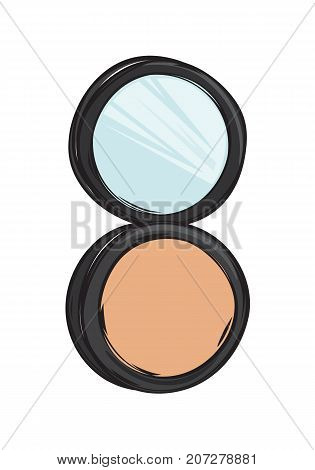 Black capsule with cashmere powder and mirror isolated on background. Make up beauty tool vector illustration. Women face appliance for smooth tone. Compact cosmetic for defects cover.