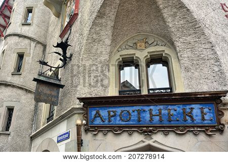 The Oldest Pharmacy In Lucerne, Switzerland