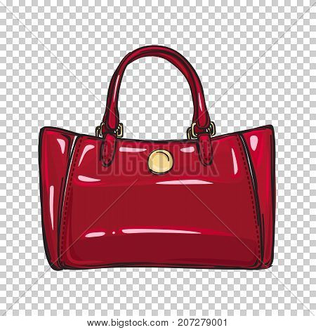 Fashionable red women bag with gold clasp isolated on transparent background. Fashionable accessory for chic, elegant and casual outfits. Vector illustration of spacious and glamorous handbag.